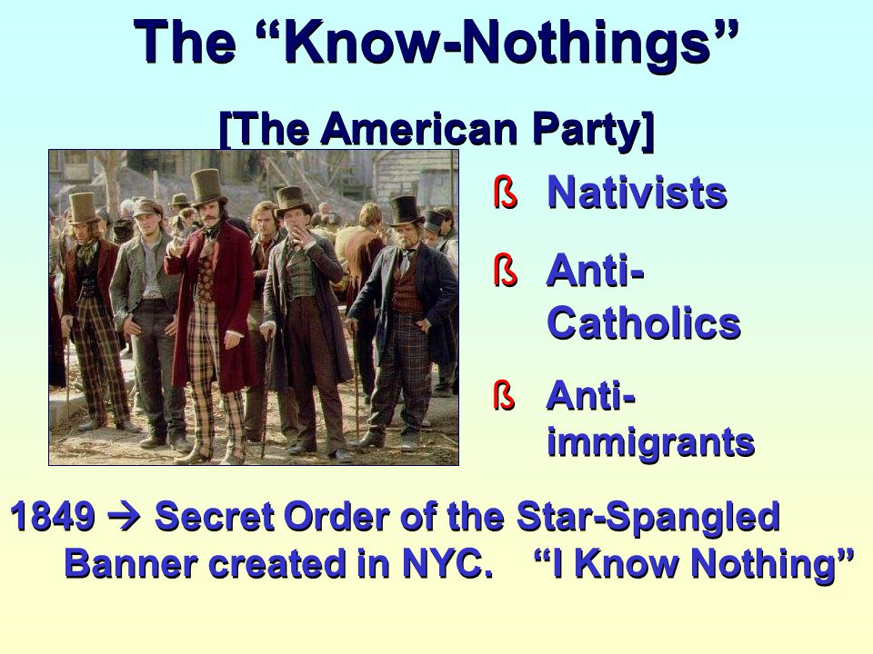 The Know-Nothings [The American Party] Nativists Anti-Catholics